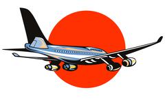 commercial jet plane airliner flying - stock illustration