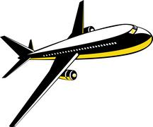 commercial jet plane airliner flying - stock illustration