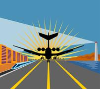 commercial jet plane airliner taking off - stock illustration