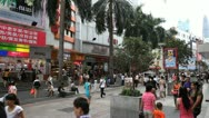 Stock Video Footage of Shenzhen Pedestrian Shopping Street, Store, Palm Trees, SEZ, China