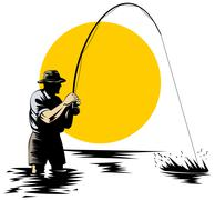 Fly fisherman with rod and reel Stock Illustration