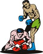 Boxer knockout on floor Stock Illustration