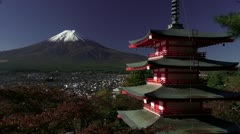 Mount Fuji And Chureito Peace Pagoda - stock footage