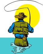 fly fisherman with rod and reel - stock illustration