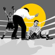 Boxer knockout referee counting Stock Illustration
