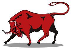raging bull charging attacking - stock illustration