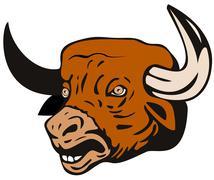 Stock Illustration of raging bull charging attacking
