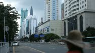 Stock Video Footage of Car Traffic, Kingkey 100, Shenzhen Cityscape, SEZ, China, Shun Hing Square