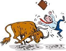 Raging bull charging attacking businessman Stock Illustration