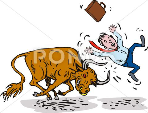 Stock Illustration of raging bull charging attacking businessman