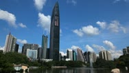 Stock Video Footage of Shenzhen Cityscape, SEZ, China, Lychee Park, Kingkey 100, Shun Hing Square