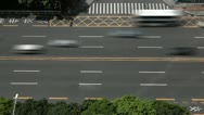 Stock Video Footage of Aerial View of Shenzhen Main Road, Car Traffic, China, SEZ, Business, time lapse
