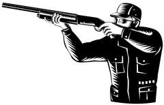 Stock Illustration of hunter aiming shotgun rifle