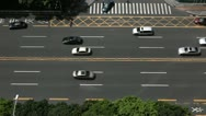 Stock Video Footage of China, SEZ, Business District, Aerial View of Shenzhen Main Road, Car Traffic