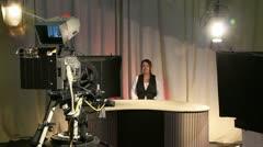 Female presenter in television studio 2 Stock Footage