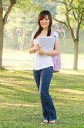 Asian female college girl Stock Photos