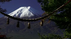 Mount Fuji And Shimenawa Stock Footage
