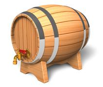 Wooden barrel with valve Stock Illustration