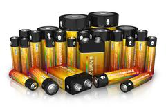 Group of different size batteries - stock illustration
