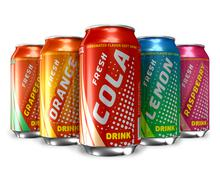 Set of refreshing soda drinks in metal cans - stock illustration