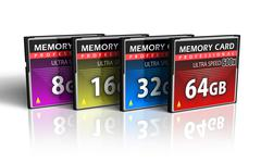 Set of CompactFlash memory cards - stock illustration
