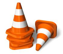 Set of orange traffic cones Stock Illustration