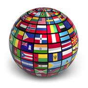 Globe with world flags Stock Illustration