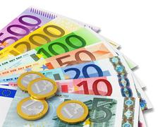 Set of Euro banknotes and coins Stock Illustration