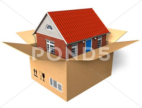Stock Illustration of New house in box