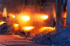 Very rare close view of working open hearth furnace - stock photo