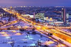 Night winter panorama of Minsk, Belarus Stock Photos
