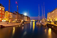 Night scenery of Nyhavn in Copenhagen, Denmark - stock photo