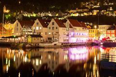 Night scenery of Bergen, Norway - stock photo