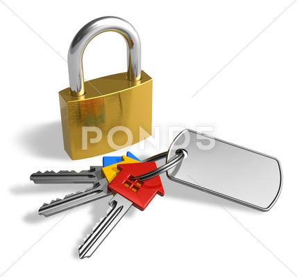 Stock Illustration of Padlock with bunch of keys