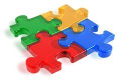 Color puzzle pieces - stock illustration