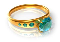 Golden ring with emeralds Stock Illustration