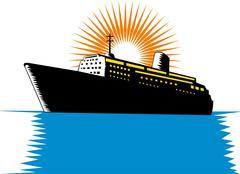 Matkustaja-alus lastin veneen retro. Piirros
