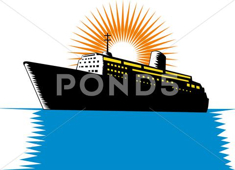 Stock Illustration of passenger ship cargo boat retro.