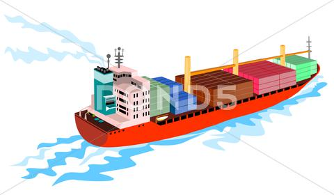 Stock Illustration of container ship cargo boat retro.