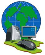 Computer mouse connected globe retro. Stock Illustration