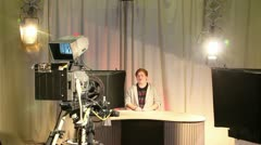 Male teen presenter in television studio 2 Stock Footage