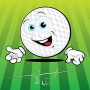 Funny golf ball Stock Illustration