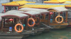Boats on Xuanwu river by day, Nanjing, China Stock Footage