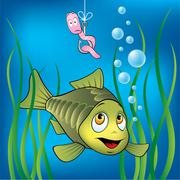 Funny fish and worm Stock Illustration