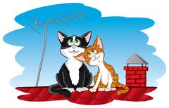 Cats on the roof Stock Illustration
