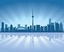 toronto skyline with reflection in water - stock illustration