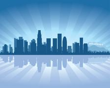 Los angeles skyline with reflection in water Stock Illustration