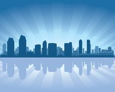 san diego skyline - stock illustration