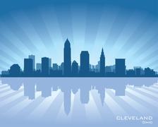 cleveland, ohio skyline - stock illustration
