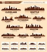 Skyline city set. 10 cities of usa #2 Stock Illustration